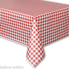 "54""x108"" Summer GINGHAM RED BBQ Party Disposable Plastic Table Cover"