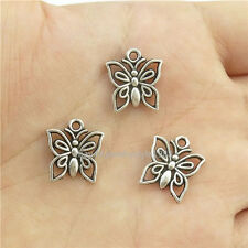 15413*60PCS Hollow Mini Insect Butterfly Pendant Charm Alloy Tibetan Silver