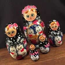 Vintage Nesting Dolls Cat Matryoshka Cats Wood Made In Russia PRIORITY MAIL