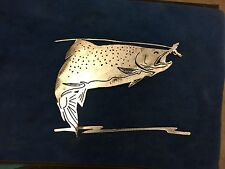 Plasma cut fly fishing trout metal mancave/ Wall Decor