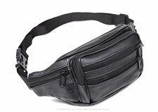 New Men's real leather black Waist Pack /wallet /backpack /Bag