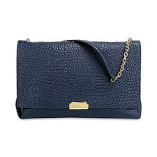 $1295 Burberry Large Mildenhall Signature Grain Leather Blue Shoulder Bag