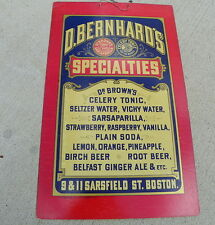 D. BERNHARDS DR BROWNS CELERY TONIC AND SODA MENUBOARD   EARLY SIGN BOSTON