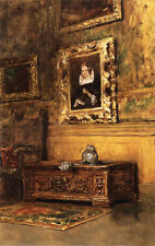 Oil William Merritt Chase - Studio Interior & Picture frame hanging on the wall