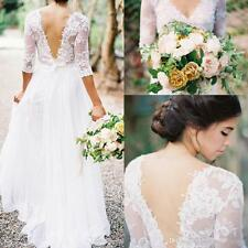 Bohemian Wedding Dresses Lace Chiffon V-neck 3/4 Long Sleeves Beach Bridal Gowns