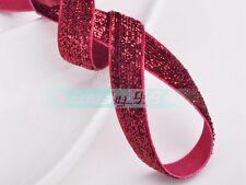 """10yds 3/8"""" & 5/8"""" 10mm/16mm Sparkle Glitter Velvet Ribbon Bows Sewing Headband"""
