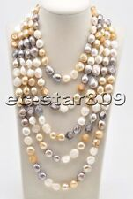 """P6441 Long 100"""" 15mm Yellow White Gray Baroque Freshwater Pearl Necklace"""