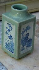 ANTIQUE 19c CHINESE  THICK CELADON BLUE&WHITE CONG SHAPE CRACKLE GLAZED VASE