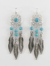 Turquoise Beaded Earrings Dream Catcher Drop Dangle Silver Feathers Jewelry