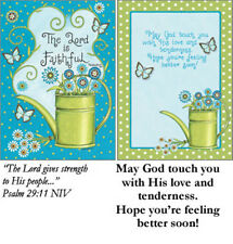 GREETING CARD~POLKA DOTS/FLOWERS~GET WELL W/SCRIPTURE