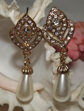 Crystal Rhinestone Pearl Dangle Drop Earrings, Wedding Earrings