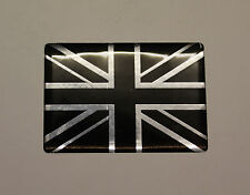 Miniature Union Jack STICKER / AUTOCOLLANT-Chrome & Noir-brillant finition gel en forme de dôme