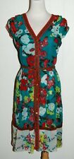 New York & Company Multi Floral V Neck Belted Button Front Shirt Dress XS