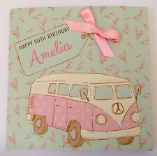 Personalised Camper Van Birthday Card Mum Daughter 18th 21st 30th 40th 50th 60th