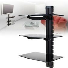 3 Tier Triple Glass Shelf Wall Mount Bracket Under TV Component Cable Box IS6H