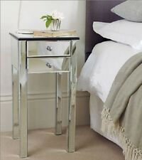 Set of Two Mirrored glass bedside tables cabinets Venetian twin 2 drawer pair x2