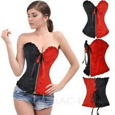 UK New Bustier Top Moulin Rouge Burlesque Basque Fancy Dress Boned Corsets AAC