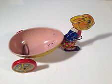 Vintage Tin Lithographed Toy Rabbit Bunny Pulling Egg Cart Wagon Easter J Chein