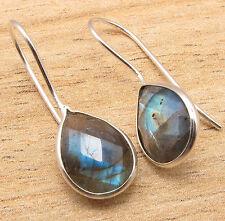 Natural LABRADORITE Pear Gemstones Drop Earrings 925 Silver Plated Metal Jewelry