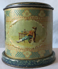 ANTIQUE ARCADIA MIXTURE CANISTER TIN, THE SURBRUG CO, MY LADY NICOTINE JM BARRIE