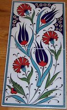 "Turkish 8""x16"" Raised Hand-painted Iznik Floral Pattern Ceramic Tile Panel Mural"