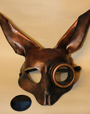 Steampunk Copper  Rabbit Bunny Mask Handmade Leather Venetian Masquerade
