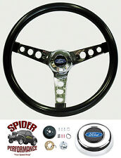 "1978-1991 Ford pickup steering wheel BLUE OVAL GLOSSY GRIP 13 1/2"" Grant"