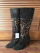 Lauren Ralph Lauren Womens Halina Boot, Dark Brown/Leopard Kid Suede Size 10