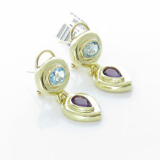 NYJEWEL 14k Solid Gold Brand New Topaz Amethyst Earring $1599 Great Gift