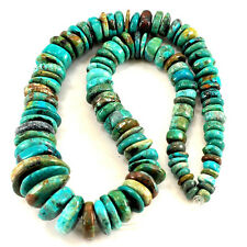 "6-20mm Natural Blue Hubei Turquoise Graduated Disc Beads 15""(TU649)d"