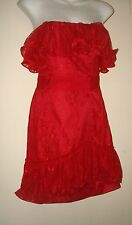 Goth Victorian Spanish Burlesque Style Strapless Ruffled Red Lace Prom Dress S