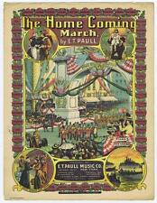 The Home Coming March by E.T paull, London Military sailors VTG sheet music #43