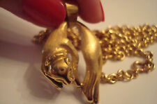 Vintage 18K Solid Yellow Gold Panther Heavy Pendant Necklace