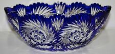 IMPERLUX Cobalt Blue Cut to Clear Crystal Bowl