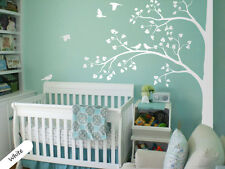 White tree wall decal corner tree wall decals nursery sticker decor mural 011