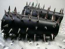 LEATHER OLD SCHOOL SPIKED BRACERS. BLACK METAL (MDLG0011)..... MARDUK'S