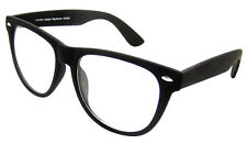 BIG Matt Rubber Finish Black Geek Nerd Clear Lenses Glasses Retro Style W3200