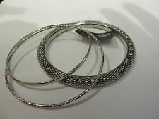 SET OF 3 SILVER COLOURED BANGLES SNAKE EFFECT, PLAIN & PATTERNED new in gift bag