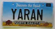 North Dakota 2000 VANITY License Plate YARAN