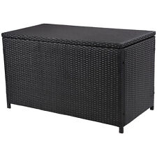 "47"" Black Wicker Deck Storage Box Patio Furniture Pool Toy Container New"