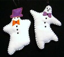 """HAND~CRAFTED 5 1/2"""" FELT GHOST HALLOWEEN TREE ORNAMENT PAIR~NEW"""