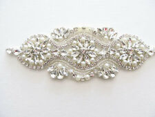 50% OFF Beaded Sew on or Iron on diamante crystal Wedding applique patch DIY