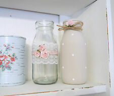 Vintage Shabby Chic Set of 2 Decorated Glass Taupe Milk Bottles Rose Lace Dotty