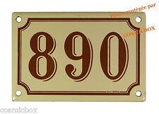 Plaque émaillée marron beige NUMERO de RUE 890 émail enamel plate street number