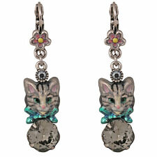 NEW KIRKS FOLLY PETITE ROYAL TABBY TOM CAT  KITTY LEVERBACK EARRINGS  SILVERTONE