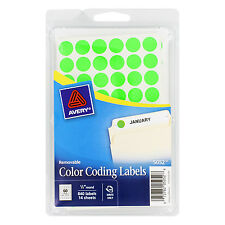 """Avery Handwrite Only Removable Round Color-Coding Labels 1/2"""" Dia Neon Green 8"