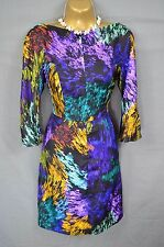 MILLY New York 100% silk multi-coloured patterned wiggle pencil dress 10-12