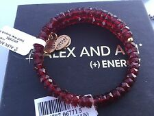 NEW ALEX and ANI VINTAGE 66 Russian GOLD BURGUNDY STARLET Beaded Wrap BRACELET