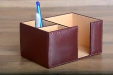 Office Desk Organizer Genuine Leather Paper Clip Holder Brown Corporate Gift New