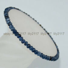 beautiful! 2x4mm Faceted Kynaite Roundlle Gemstones Bracelet 7.5 inch